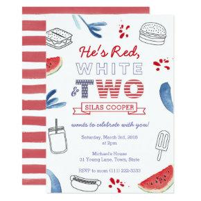 Red White and TWO Outdoors 2nd Birthday Party Invitation