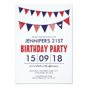 RED WHITE BLUE COUNTRY BUNTING BIRTHDAY INVITATION