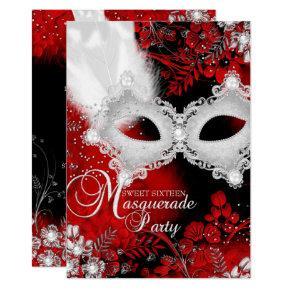 Red White sparkle Mask Masquerade Sweet 16 Invitation