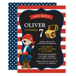 Red White Stripes Pirate Boy Birthday Invitations