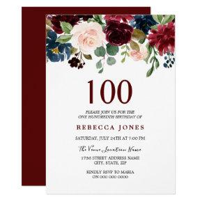 Red Wine Burgundy Flowers 100th Birthday Invite