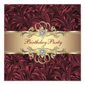 Red Wine Gold Birthday Party Invitation