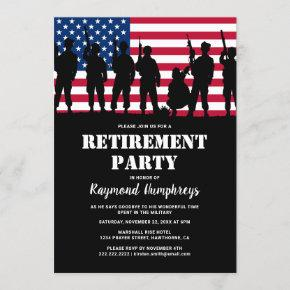 Retirement Party | Military Soldier Flag Invitation