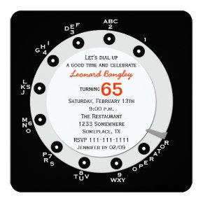 Retro 65th Birthday Party Invitation Rotary Dial