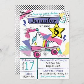 Retro 80's Skate Party Birthday Invitation