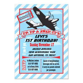 Retro Airplane Birthday Party Invitations
