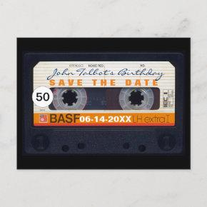 Retro Audiotape 50th birthday Save the date PostC Announcement Post