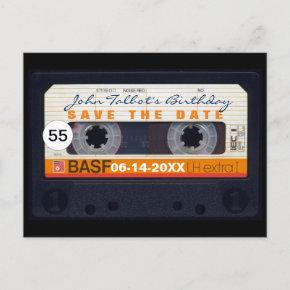 Retro Audiotape 55th birthday Save the date PostC Announcement PostInvitations