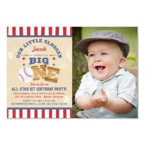 Retro Baseball 1st Birthday Stars & Stripes Photo Invitation