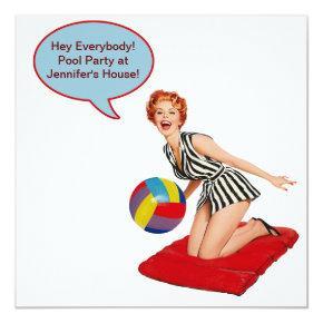 Retro Beach Ball Pool Party Invitation