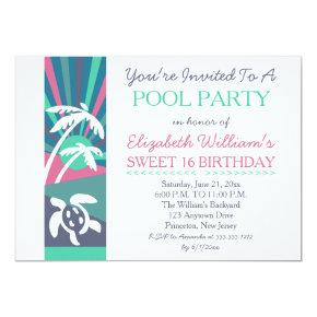 Retro Beach Sunset Sweet 16 Birthday Pool Party Invitations