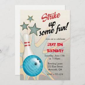Retro Bowling Birthday Invitation
