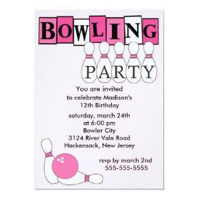 Retro Bowling Birthday Party Invitation