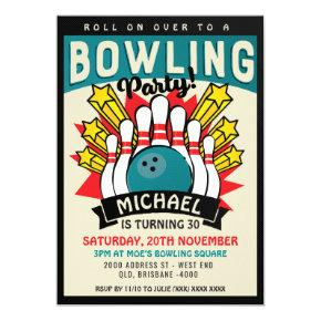 Retro Bowling Party Birthday Invitation