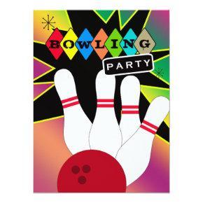 Retro Bowling Party Invitation
