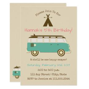 Retro, Camping Birthday Invite | Special Bday
