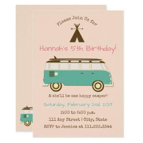 Retro, Camping Birthday Invite- Special Bday Invitations