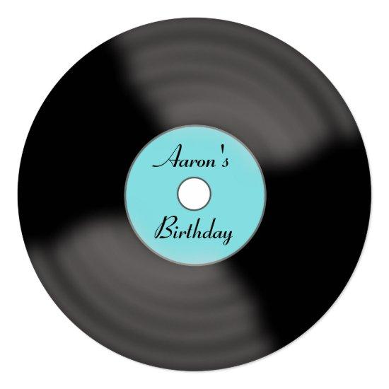Retro Custom Birthday Vinyl Record Invitations Candied Clouds