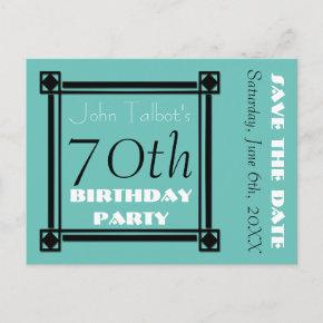 Retro Frame 70th birthday Party Save the Date Announcement Postcard