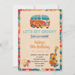Retro hippie 60s invitation