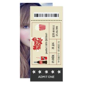 Retro Movie Night Birthday Party Ticket add photo Invitation