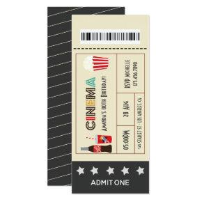 Retro Movie Night Birthday Party Ticket Invitation