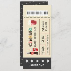Retro Movie Night Birthday Party Ticket Invitation