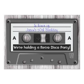 Retro Music Cassette Tape Disco Party Invitation