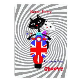 Retro Party Cats On Union Jack Retro Scooter Invitation