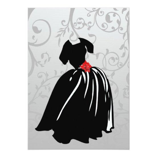 Retro Red Rose Debutante Ball Invitations Candied Clouds