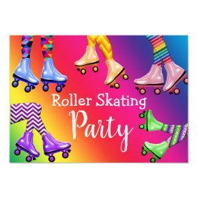 Retro Roller Skating Birthday Party Invitation