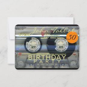Retro T2 Audiotape 50th birthday Party Invitation