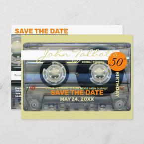 Retro T2 Audiotape 50th birthday SAVE THE DATE PoC Invitation Post