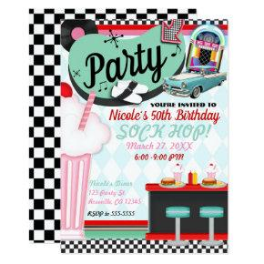 Sock Hop Party Birthday Invitations Candied Clouds