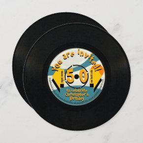 Retro Vinyl 50th Birthday Party with envelope RI