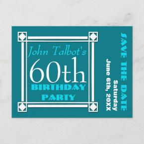 Retro W 60th birthday Party Save the date Announcement PostInvitations