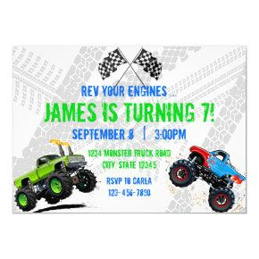 Rev Your Engines Monster Truck Birthday Invitation