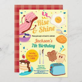 Rise and shine breakfast brunch invitation
