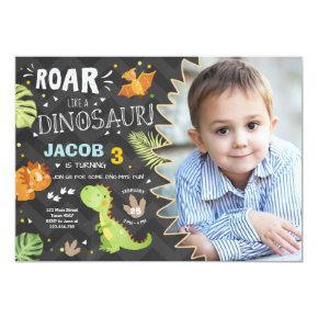 Roar Dinosaur birthday invitation Dino Party Boy