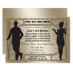 Roaring 20s art deco flapper girl and gangster Invitations
