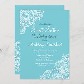 Robbin egg blue floral lace Sweet 16 Invitation