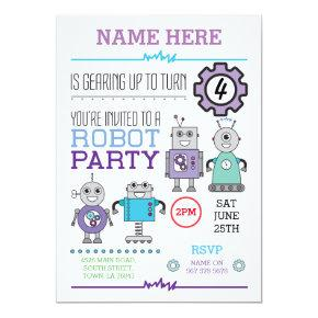 ROBOT Birthday Party Blue Gears Cogs Robots Invite