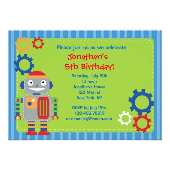 robot birthday party invitations candied clouds