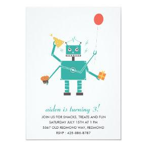 Robot Bleep Bleep Kid's Birthday Party Invitation