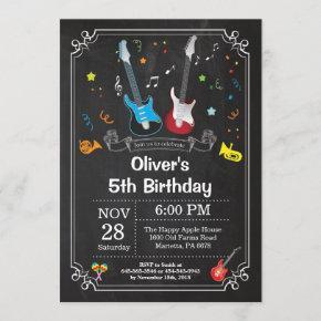 Rock Star Guitar Birthday Invitation Music Boy