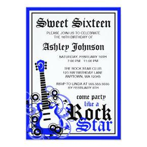Rock Star Guitar Sweet 16 Birthday Party Blue Invitation