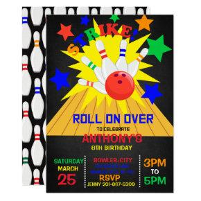 Roll On Over... STRIKE Bowling Birthday Party Invitation