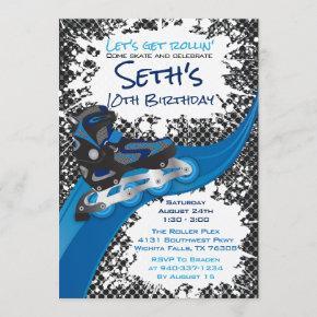 Roller Blade Grunge Blue Birthday Party Invitation