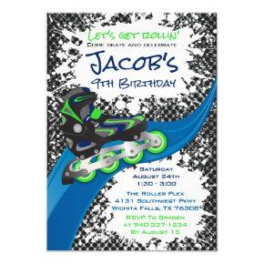 Roller Blade Grunge Green Birthday Party Invitation
