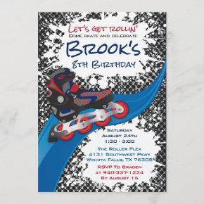 Roller Blade Grunge Red Birthday Party Invitation